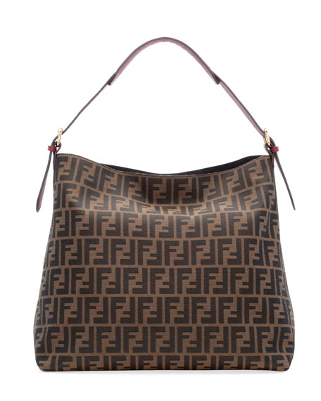 d4d44754b4 Fendi Zucca-Print Large Canvas Hobo Bag