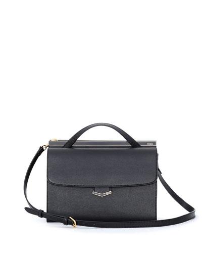 Demi-Jour Saffiano Shoulder Bag, Black