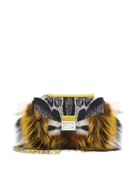 548f793524 Fendi Be Baguette Fur   Leopard-Print Calf Hair Bag