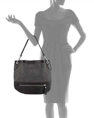 Rivet Tote Handbag Satchel, Studded Spike Faux Leather Shoulder Hobo Bag Purse For Girls