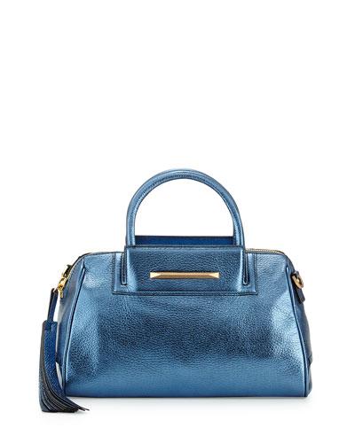 Sharon Mini Metallic Zip Satchel Bag, Cadet Blue