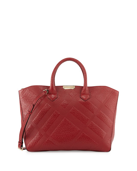 aabfba2bacb1 Burberry Check-Embossed Leather Tote Bag
