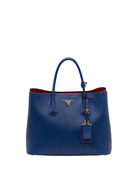 b84072bff272 france prada saffiano cuir double bag blue bluette 059cf 6fab3