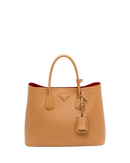 e9ade029a876 Prada Saffiano Cuir Small Double Bag, Camel (Caramel)
