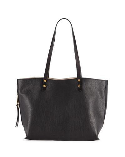 Dilan East-West Leather Tote Bag, Black