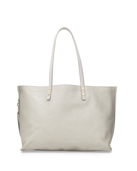 Chloe Dilan Large Leather Tote Bag, Gray f827149517
