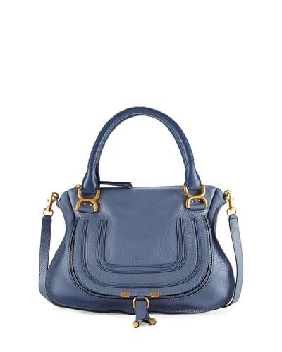 Marcie Medium Satchel Bag, Medium Blue