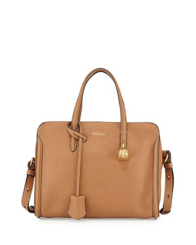 Padlock Mini Zip-Around Tote Bag, Brown