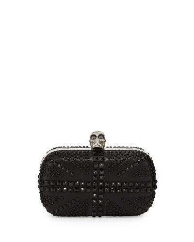 Britannia Skull-Clasp Studded Clutch Bag, Black