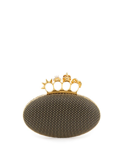 Studded Oval Knuckle Clutch Bag, Black
