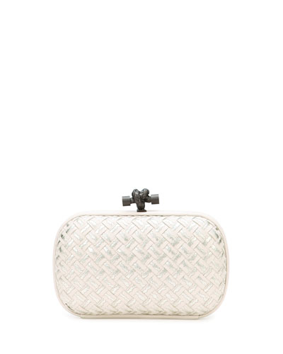 Woven Metallic Knot Clutch Bag, Light Gray