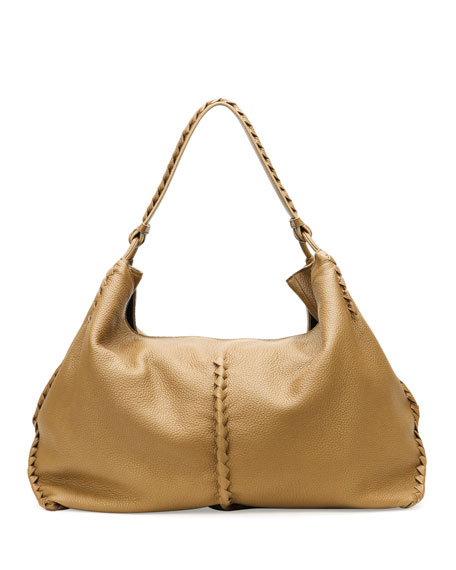 6ec8d7a54e3 Bottega Veneta Cervo Large Shoulder Bag, Sand