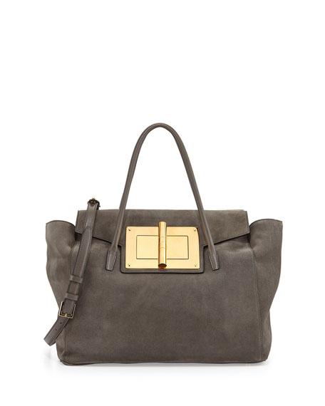 Natalia Soft Suede Turn Lock Tote Bag Gray