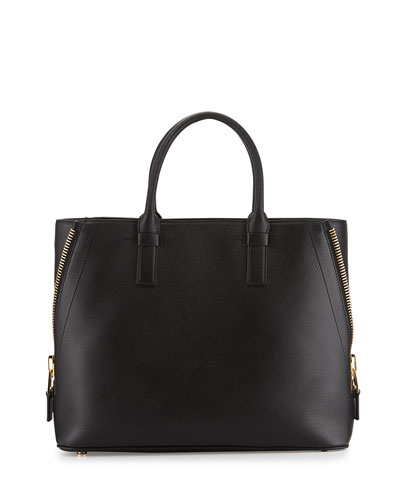 Jennifer Medium Trap Calfskin Tote Bag, Black
