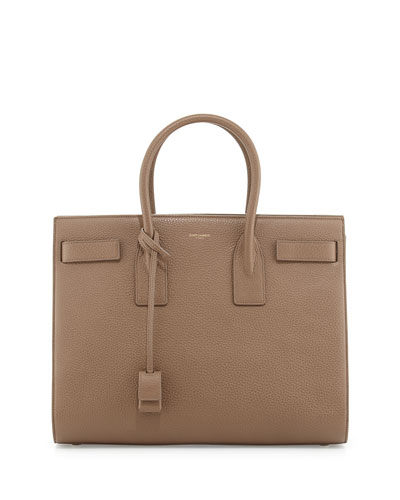 Sac de Jour Grained Leather Carryall, Taupe