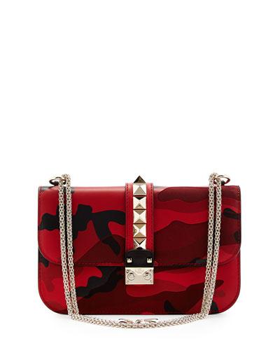 Medium Camo Rockstud Lock Bag, Red