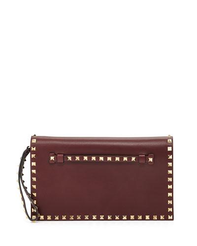 Rockstud Leather Flap-Top Clutch Bag, Bordeaux