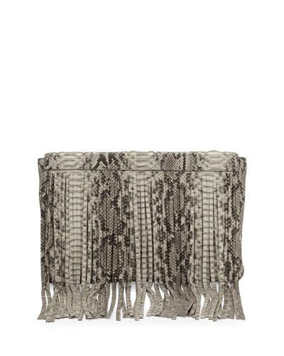 Joni Python Fringe Clutch Bag