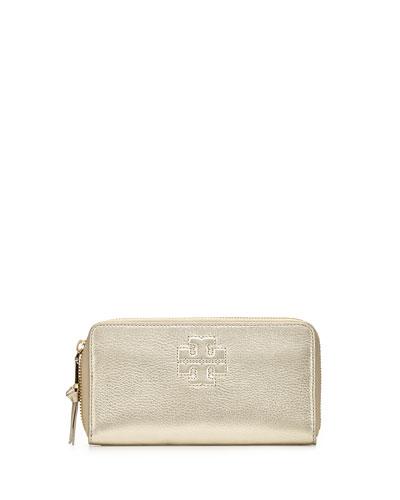 Thea Metallic Continental Zip Wallet, Light Gold