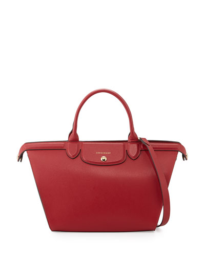 Le Pliage Heritage Saffiano Leather Satchel Bag, Carmine
