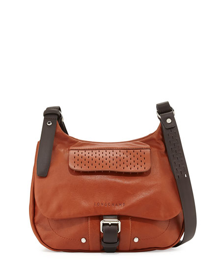 a0b83cf981e Longchamp Balzane Roots Leather Crossbody Bag, Cognac
