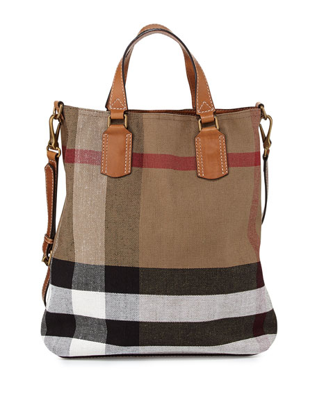 b739622b7a8 Burberry Brit Check Canvas Medium Tote Bag, Saddle Brown