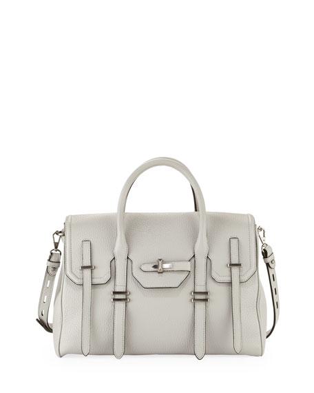 Jules Pebbled Leather Satchel Bag Pale Gray