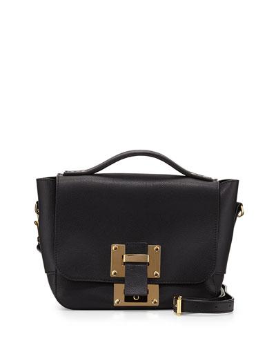 Mini Flap Soft Leather Shoulder Bag, Black