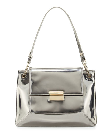 Christy Metallic Leather Shoulder Bag Silver