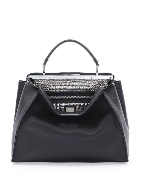 ... wholesale fendi peekaboo large croc stitched satchel bag black silver  563a2 bbbfb 3e6bead642367