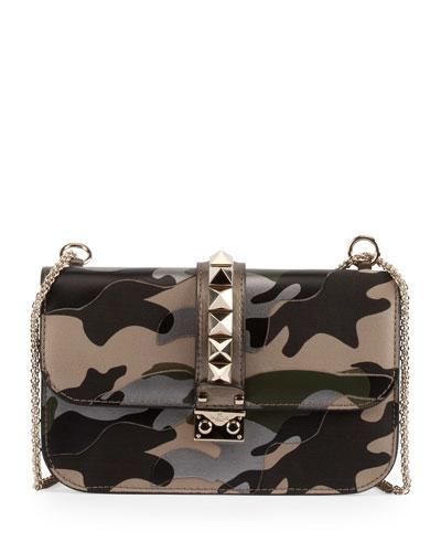 Camo Glam Lock Rockstud Medium Flap Bag