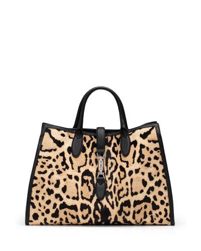 Jackie Soft Leopard-Print Calf Hair Top Handle Bag