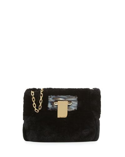 Fun Fur Flip-Lock Shoulder Bag, Black