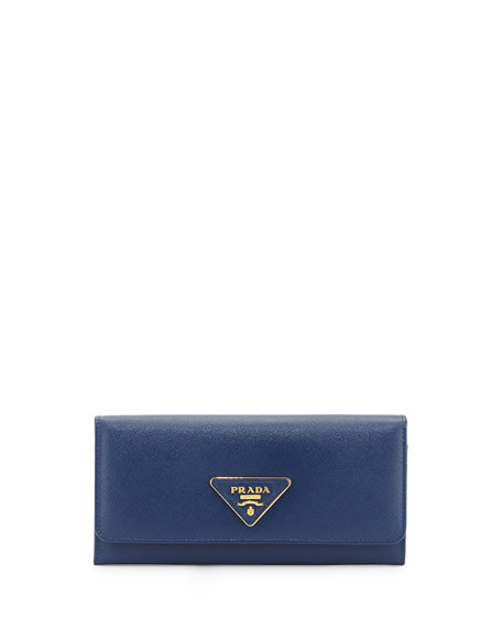 2af20aa49c38 Prada Saffiano Triangle Continental Flap Wallet, Blue (Bluette)