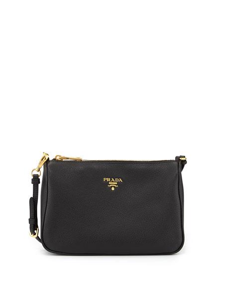 7b6b25f8848a2d Prada Vitello Grain Small Shoulder Bag, Black (Nero)