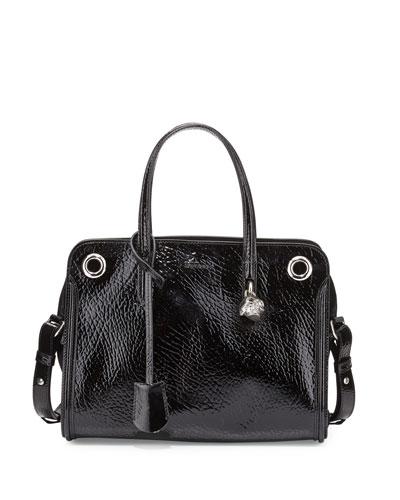 Patent Small Eyelet Padlock Satchel Bag, Black