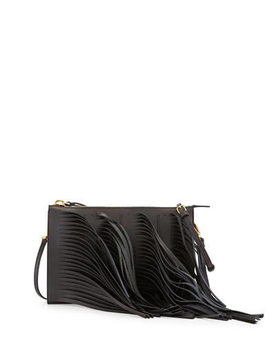 Fringe Leather Zip Crossbody Bag, Black/Gray