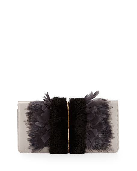 Arc Feather Fur Clutch Bag Black Gray