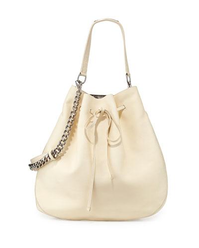 Calfskin Bucket Hobo Bag, Off White