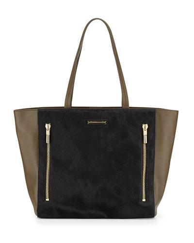 James Calf Hair Tote Bag, Black/Moss
