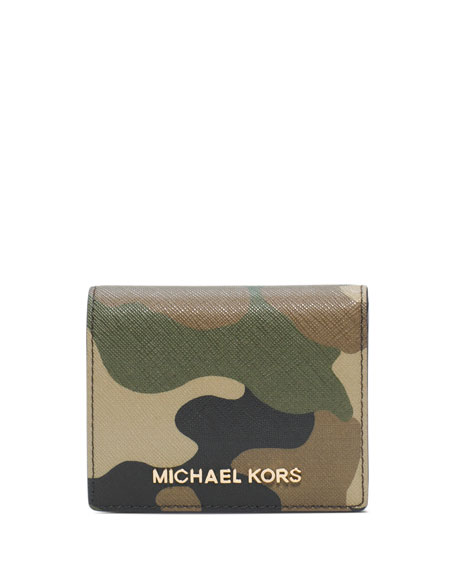 4c27b61de84ff7 MICHAEL Michael Kors Jet Set Camo Travel Flap Card Holder