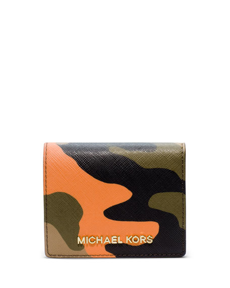 514fb7f42f68 MICHAEL Michael Kors Jet Set Camo Travel Flap Card Holder