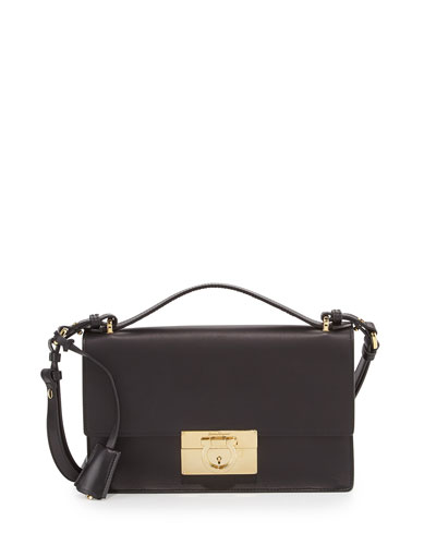 Aileen Leather Shoulder Bag, Nero
