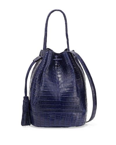 Medium Crocodile Tassel Bucket Bag, Navy