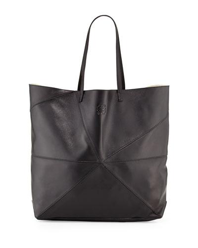 Lia Origami Leather Tote Bag, Black