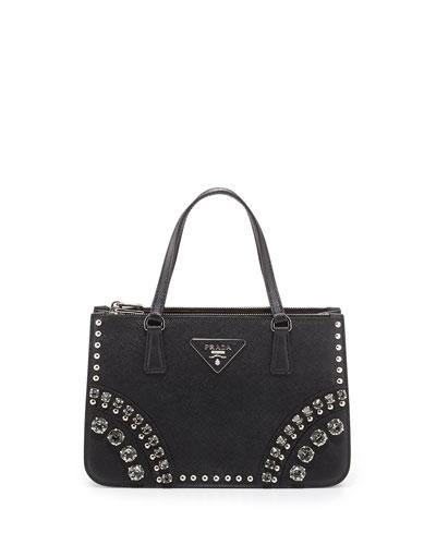 Saffiano Tote Bag with Studs and Stones, Black (Nero)