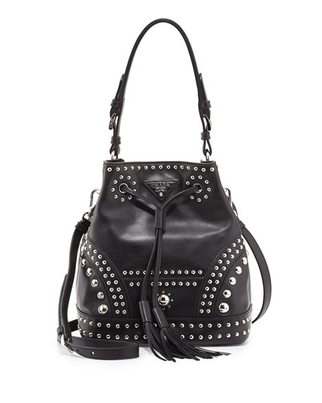 76551b7549b6 Prada Soft Calf Studded Small Bucket Bag