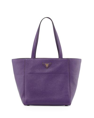 Vitello Daino Shopper Bag, Violet (Viola)
