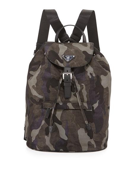820f44a36109 Prada Tessuto Camouflage Backpack, Gray (Fumo)