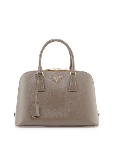 Medium Saffiano Pomenade Bag, Light Gray (Argill)